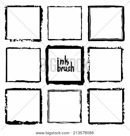 Rectangular vector frame. Grunge ink illustration. Creative backgrounds for tags, labels, cards. Hand drawn brush strokes.