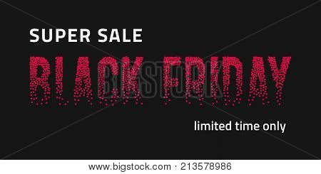 Black Friday shopping vector banner with red fading dotted inscription on black background. Halftone transition effect letters. Modern trendy design template. Promotion company concept. Black Friday brochures. Black Friday offer. Black Friday sale.