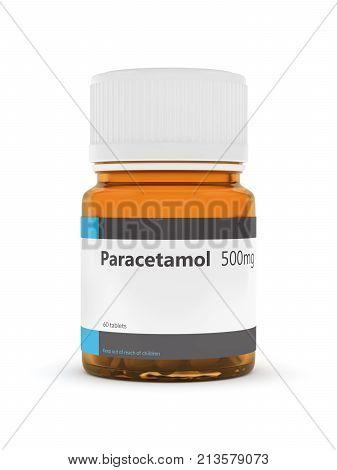 3D Rendering Of Paracetamol Bottle With Pills Over White