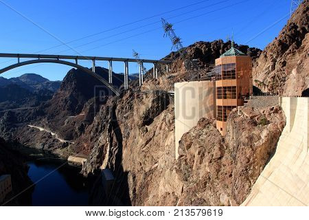 The Hoover Bridge from the Hoover Dam, Nevada.