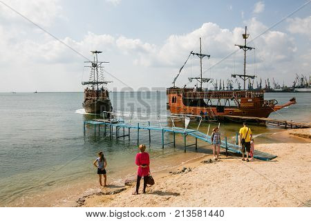 Berdiansk Ukraine - August 31 2016: City beach with vacationers