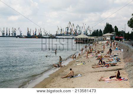 Berdyansk Ukraine - August 31 2016: City beach with vacationers