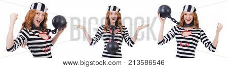 Young smiling woman-prisoner isolated on white