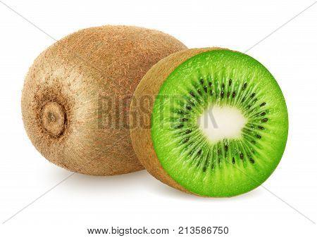 Kiwi isolated. Kiwi fruit and sliced kiwi isolated on white background. Clipping path included.