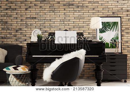 Grand piano in cozy home interior
