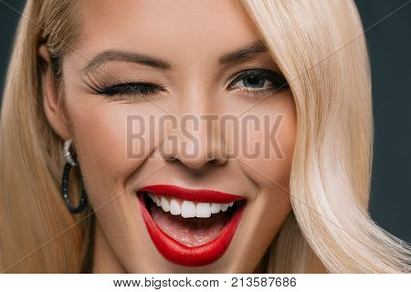 Blonde Winking Woman
