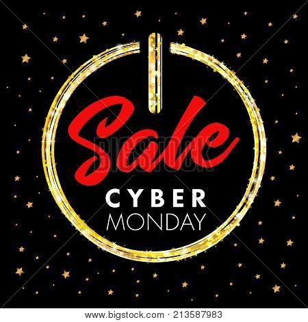 Cyber monday sale promotion banner power button and star. Cyber monday sale concept for web banner or discount poster. Vector illustration