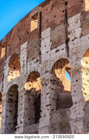 The famous ruins of the ancient Roman Colosseum in Rome, Italy