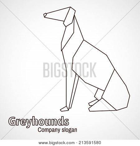 Vector simple illustration paper origami and contour drawing of dog greyhound.