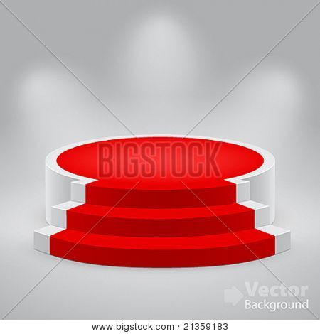 3d empty white podium with red carpet. Vector illustration.