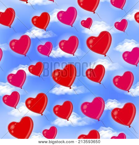Seamless Background with Heart Shaped Balloons, Flying in Blue Sky with White Clouds, Colorful Tile Pattern. Eps10, Contains Transparencies. Vector