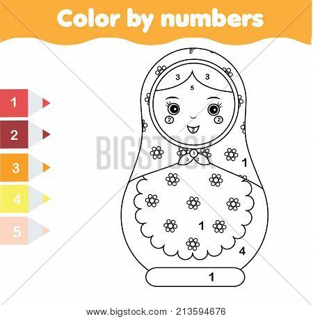 Children educational game. Coloring page with matreshka doll. Color by numbers, printable activity, worksheet for toddlers and pre school age.