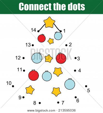 Connect the dots children educational drawing game. Dot to dot by numbers game for kids. Printable worksheet activity for New Year, Christmas holidays theme