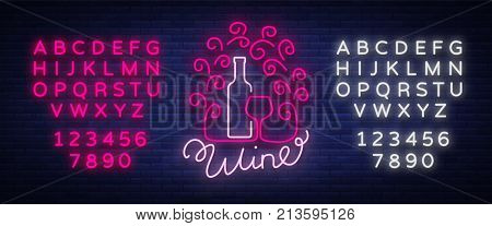 Template logo wine bar in a trendy neon style. Logo, badge glowing banner. For the menu, bar, restaurant, wine house, wine label, vineyard, winery. Vector illustration. Editing text neon sign.