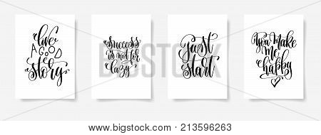 do it immediately, I need vitamin sea, be the game changer, welcome - set of four posters with hand lettering inscription positive quote, vector illustration