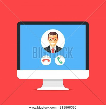 Incoming call on computer screen. Calling service. Desktop computer and telecommunication software. VoIP, IP telephony. Modern concepts for web banners, web sites, etc. Flat design vector illustration