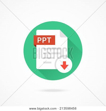 Download PPT icon. Download document. Vector round icon with long shadow design