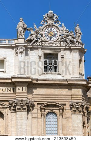 ROME, ITALY - JUNE 23, 2017: Architectural detail of St. Peter's Basilica at  Saint Peter's Square, Vatican, Rome, Italy