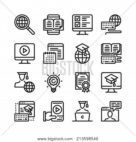 Online education line icons set. 48x48 px. E-learning, elearning, distance education concepts. Modern graphic design. Simple stroke outline elements collection. Pixel perfect. Vector line icons