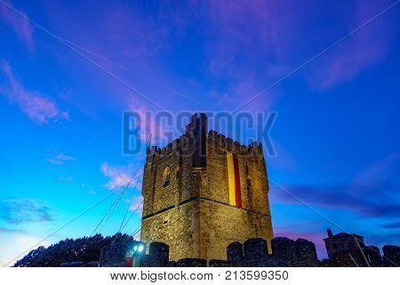 Antique Fort Castillo of Braganza in Portugal. Dusk time