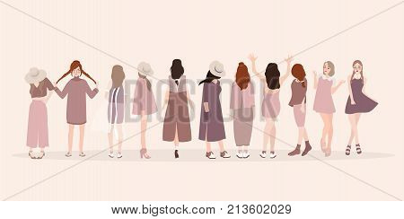 Beautiful young women in fashion clothing. Fashion women. Isolated fashion lady pose clothing show vector