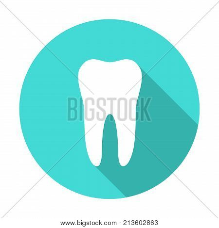 White molar tooth poster template. Graphic design element for dentist advertisement, tooth paste poster, dental clinic flyer. Realistic drawing of human tooth. Vector illustration.
