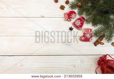 Overhead Of Christmas New Year Holiday Background. Red Gingerbread Cookies Boots, Meetens, Bag With