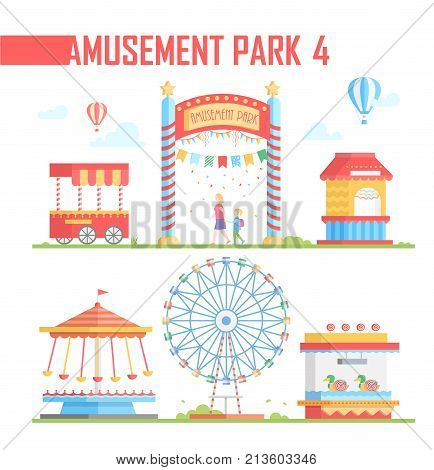 Set of amusement park elements - modern vector illustration on white background. Big wheel, hot air balloons, ticket office, carousels, attraction, van. Entertainment concept