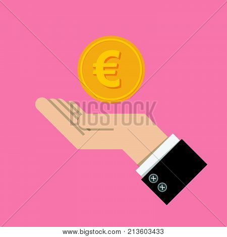 vector illustrator. return of an investment concept. gold coin with sign of Euro money currency on hand, palm of businessman. invest growth,finance plan, personal management, investment portfolio.
