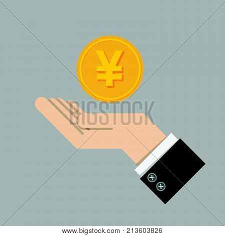 investment return concept. gold coin with sign of Japanese Yen currency on hand, palm of businessman. invest growth, finance plan, personal management, investment portfolio. vector illustration EPS10