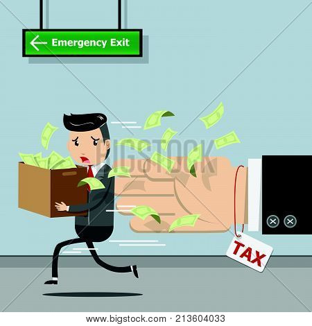 Tax payment , state government taxation, calculation of tax for tax time concept. Businessman running away from tax. vector illustration EPS10