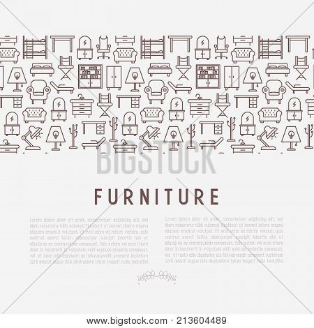 Furniture concept with thin line icons of coach, bookcase, bed,  dresser, chair, lamp, floor hanger. Modern vector illustration for banner, web page, print media.