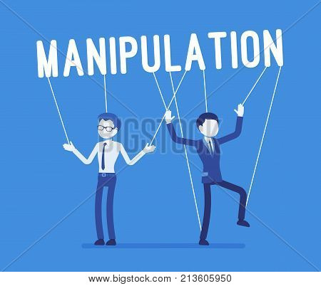 String manipulation puppet people. Men in underhand influence of leader or boss, controlling them in unscrupulous way. Business style vector concept illustration
