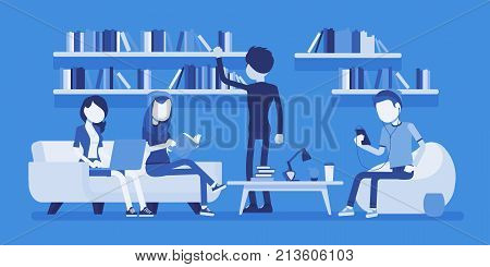 Public library people. Group of young men reading, union board, social service providing books for students and people, Business style vector concept illustration