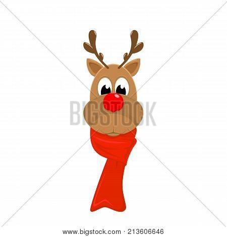 Christmas character deer Rudolph. Head of Happy reindeer with red nose and scarf isolated on white background, illustration.
