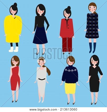 3cc48c3eac Fashionable girls set. Women in different dress code. Female in winter and  office clothes