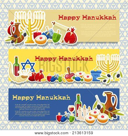 Jewish Holiday Hanukkah horizontal banners set. Traditional symbols of holiday light and candles cards on blue Jewish star template . Cartoon style vector illustration