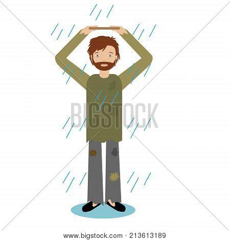 Homeless man standing in rain. Vector illustration of beggar character
