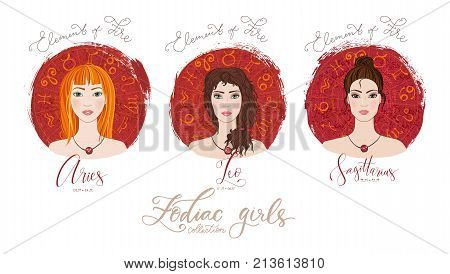 Trigon of fire, zodiac signs Aries, Leo and Sagittarius  in image of beauty girls. Vector illustration for column Horoscope includes modern hand drawn lettering and dates. Part of collection