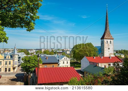 Rooftops of old town and St. Trinity church. Rakvere Estonia Europe
