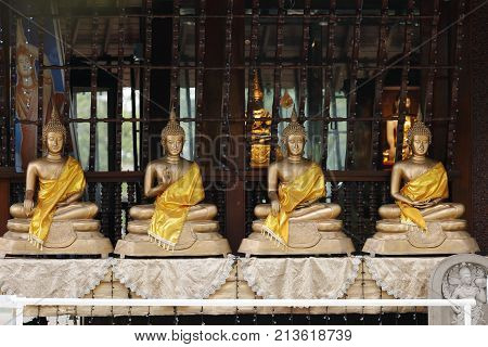 Buddha figures in the Seema Malaka Temple of Colombo in Sri Lanka