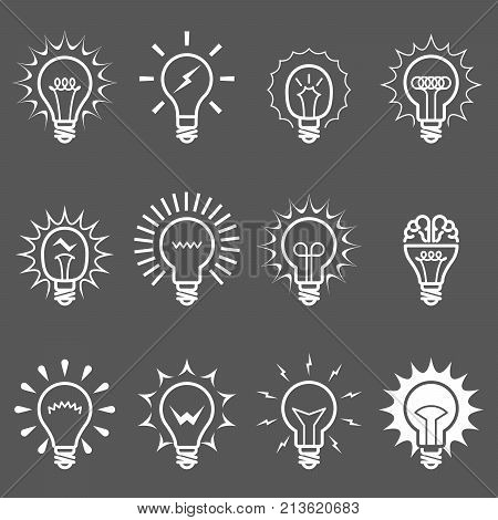 Light bulbs and lamps icons - idea or innovation symbols