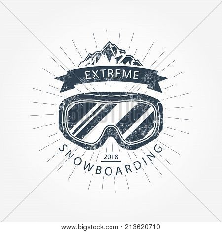 Ski goggles and mountains - ski resort emblem