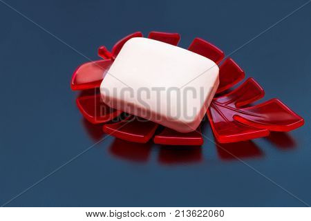White soap in a soap dish on a dark background