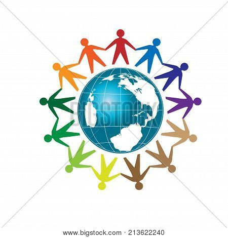 creative colorful people unity with Earth globe Template logo , community logo