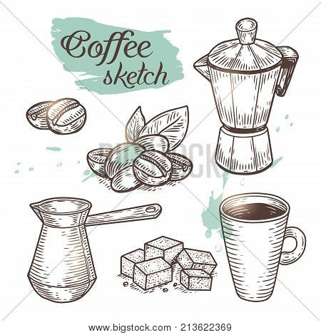 Outline coffee elements isolated on background. Vector sketch of coffee pot, beans, sugar and cup icons can use for print, cafe menu or advertising of products.