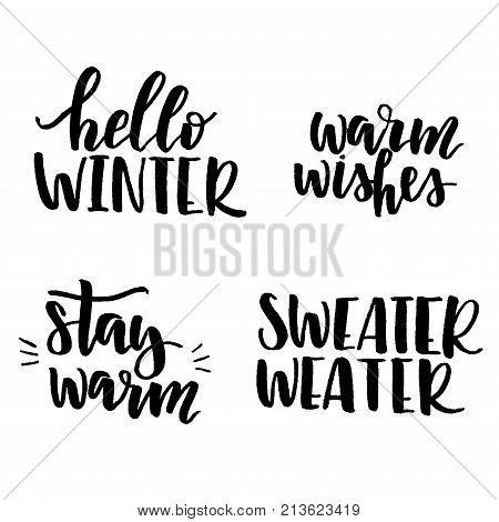Set of lettering phrases Hello winter, Stay Warm, Warm Wishes, Sweater weater. Set of vector winter lettering.