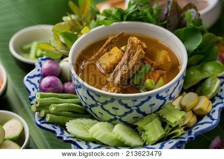 The Viscera Of Mackerel Fish Paunch Hot Spicy Curry Or Fish Organs Sour Soup With Vegetables, Thai F