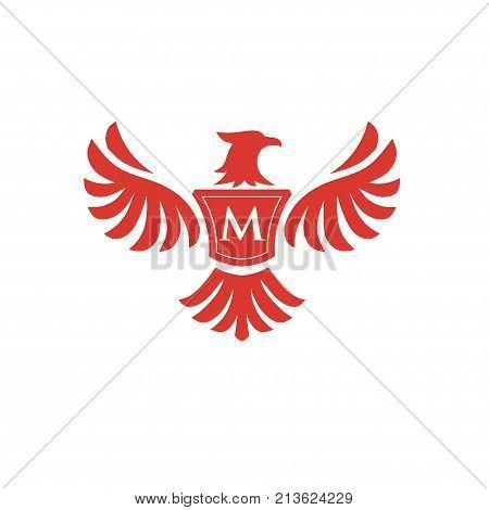 elegant phoenix with letter M consulting logo concept, eagle with letter M logo concept