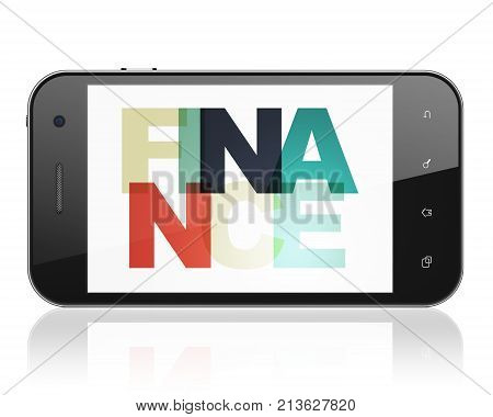 Business concept: Smartphone with Painted multicolor text Finance on display, 3D rendering